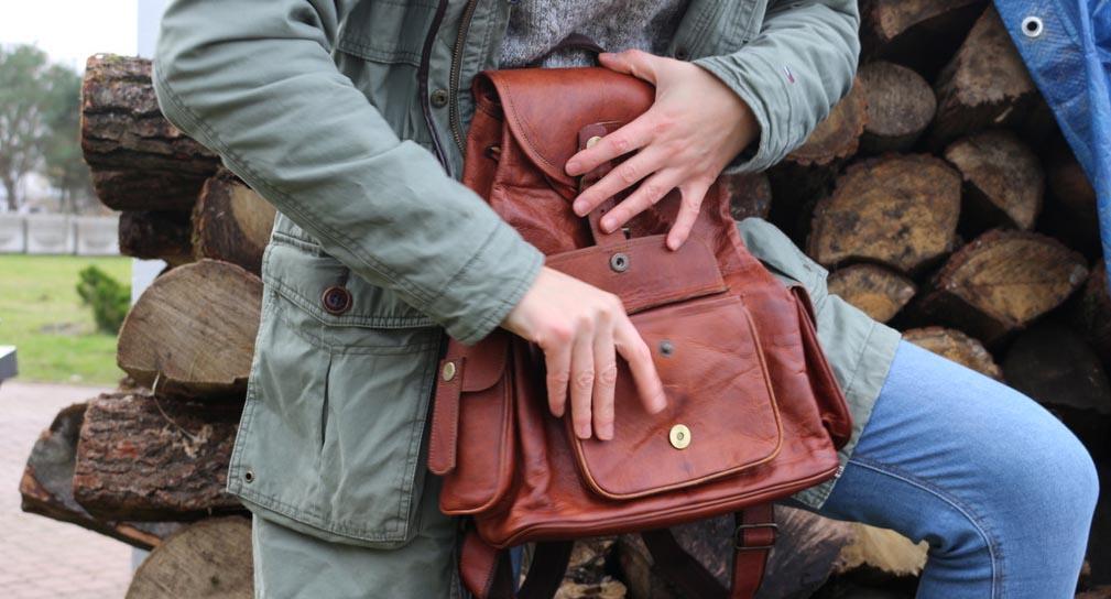 plecak vintage skórzany